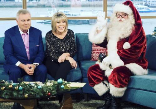 Santa Claus interviewed on ITV's This Morning by Eamonn Holmes and Ruth Langsford